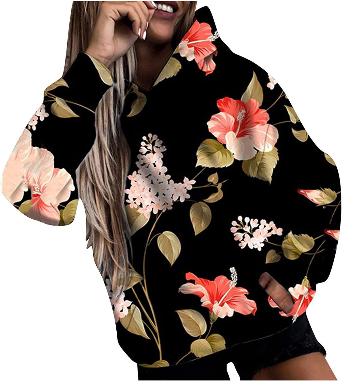 Masbird Hoodies for Women, Womens Cool Hoodies Girls Fashion Graphic Long Sleeve Flower Print Cute Hoodies with Design
