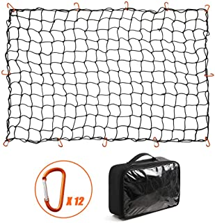 CZC AUTO Bungee Cargo Net 4x6Ft Truck Bed Net Stretches to 8x12Ft for Pickup Trailer RV SUV Boat  4Inch x 4Inch Mesh Net H...