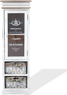 Rebecca Mobili Vitrine Blanc, Armoire de Rangement 1 Porte 2 Tiroirs, Bois Osier, Style Shabby, Decor Maison Salle de Bain...