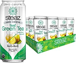Steaz Organic Zero Calorie Half Iced Green Tea & Half Lemonade, 16 OZ (Pack of 12)