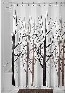 HowPlumb Shower Curtain Tree Forest Bird Black Grey Brown Fabric, 72-in. x 72-in.