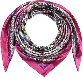35 بوصة المرأة مربع الحرير يشعر الأوشحة وشاح الرأس للنوم الفرنسية روز الوردي الطاووس الطوطم