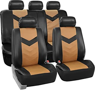 FH-FB031114-SEAT Cloth Seat Covers W. 4 Detachable Headrests and Solid Bench Red & Black