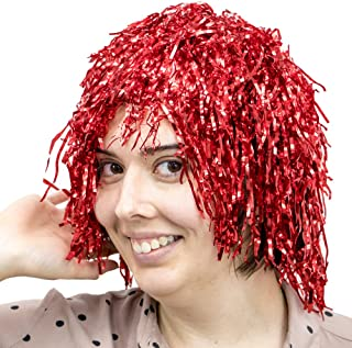 6-Pack Glam Tinsel Party Wigs Halloween Costume Accessory - Dress Up Theme Party Roleplay & Cosplay Headwear