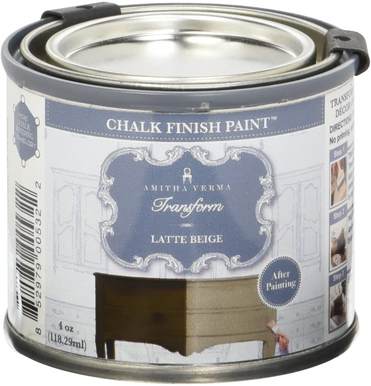 Amitha Verma Chalk Finish Paint, No Prep, One Coat, Fast Drying | DIY Makeover for Cabinets, Furniture & More, 4 Ounce, (Latte Beige)