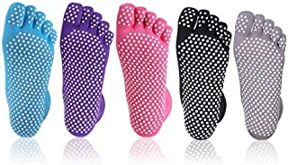 Cisixin, Cisixin Calcetines de Yoga Antideslizantes Pilates Yoga Fitness Danza Prevención de Caídas Antideslizante Calcetines algodón Mujeres(5 Pares)
