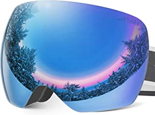 Frameless OTG Ski Snow Goggles for Men Women, Snowboard Goggle with Anti-Fog Lens