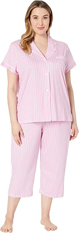 Plus Size Short Sleeve Notch Collar Capris Pajama Set
