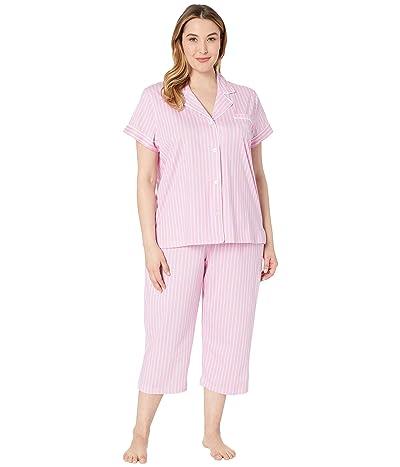 LAUREN Ralph Lauren Plus Size Short Sleeve Notch Collar Capris Pajama Set (Pink Stripe) Women