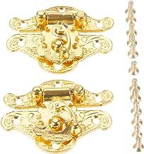 2sets Klink hangslotbeugels met Schroeven Antieke Gouden hangsloten zinklegering Buckle Lock 25 * 48mm Jewelry Houten Box ...