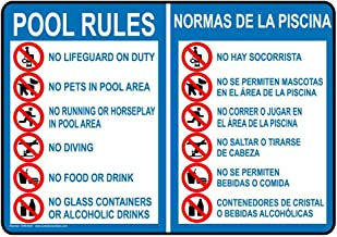metal Signs Aluminum Swimming Pool/Spa Sign, 12 x 18 in. with English + Spanish Text, White
