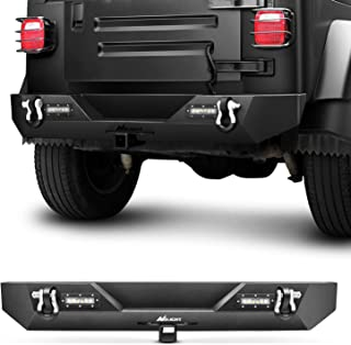 Nilight Rear Bumper Compatible for 1987-2006 Jeep Wrangler TJ&YJ,Rock Crawler Bumper with Hitch Receiver & 2X Nilight Upgr...
