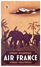 Air France - Afrique (elephants) Vintage Poster (artist: Guerra) France c. 1948 59636 (12x18 SIGNED Print Master Art Print - Wall Decor Poster)