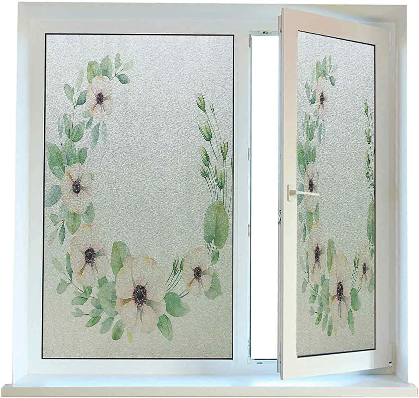 Window Film unisex Stained Glass Anemone Flower Fil Now free shipping Cling Static