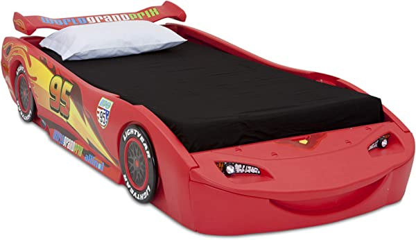 Disney Pixar Cars Lightning McQueen Twin Bed With Lights By Delta Children