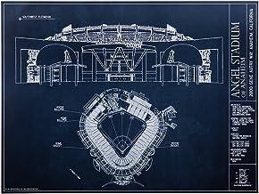 Angel Stadium of Anaheim - Blueprint Style Print