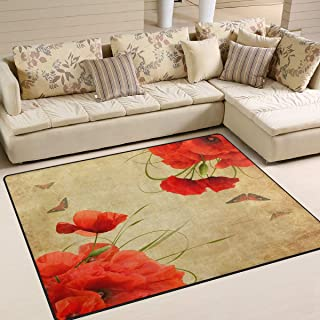 alaza Romantic Poppy Flower Butterfly Vintage Area Rug Rugs for Living Room Bedroom 7' x 5'