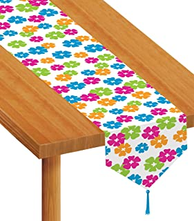 Beistle Printed Hibiscus Table Runner, 11 by 6-Feet, Multicolor
