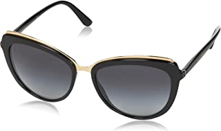 Dolce & Gabbana Women's Acetate Woman Cateye Sunglasses, Black, 57.0 mm