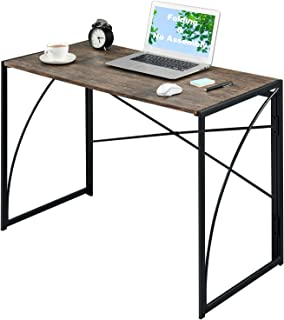 "Computer Writing Desk 39.4"" Folding No-Assembly Modern Simple Study Table Kids Desk ps5 Gaming Table Small Industrial Home..."