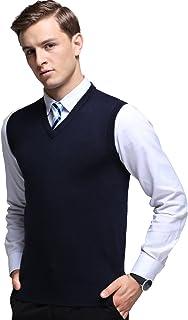 KINLONSAIR Mens Casual Slim Fit Solid Soft V-Neck Sweater Vest