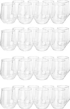 32 count 12 oz Unbreakable Stemless Plastic Wine Champagne Glasses Elegant Durable Reusable Shatterproof Indoor Outdoor Ideal