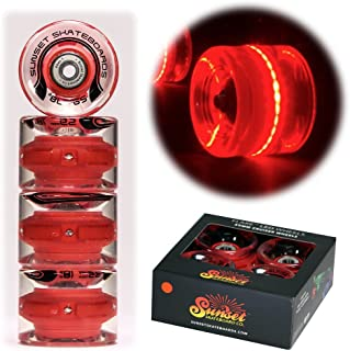 Sunset Skateboards Red 59mm Cruiser LED Light-Up Wheels Set with ABEC-7 Carbon Steel Bearings (4-Pack)
