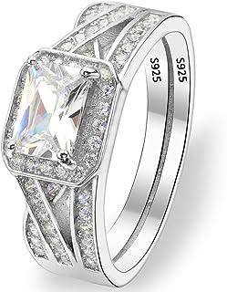 EVER FAITH 925 Sterling Silver Elegant Asscher Cut CZ Wedding Engagement Ring Size 7