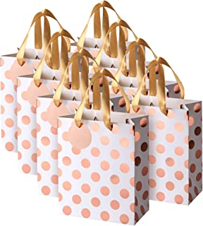 Rose Gold Gift Bags with Handles and Gift Tags, Medium, for Birthday, Sweet 16, Christmas Holidays Graduation Wedding Showers 8 Pack
