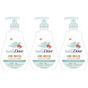 Baby Dove Tip to Toe Baby Body Wash Sensitive Moisture 13 oz 3 Count For Baby's Sensitive Skin Washes Away Bacteria, Fragrance-Free and Hypoallergenic Baby Soap (Packaging may vary)