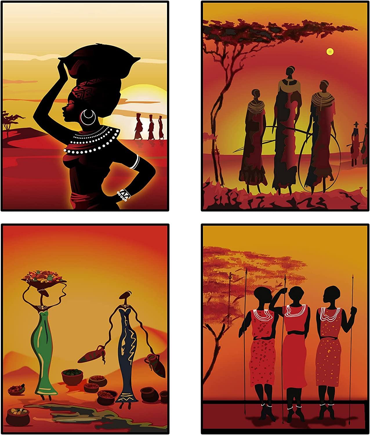 4 Pieces African American Women Wall Art Paintings Black Women Wall Prints Ethnic Ancient Theme Posters Retro Style African Wall Art Prints for Living Room Bedroom Decors, 10 x 8 Inches, Unframed