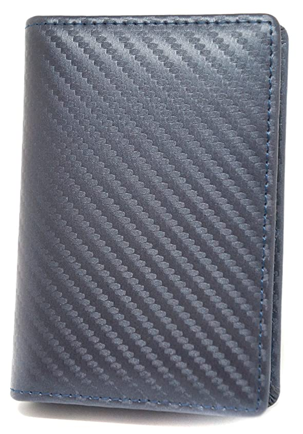 横向き祝福する弾薬[High-end] 【極上 カーボンレザー使用】本革 大容量 名刺入れ カードケース ボックス付き ME0150_e