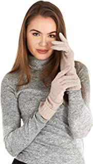 Manio Cashmere Women's 100% Cashmere Knitted Gloves Pure Soft Comfortable With Ribbed Cuffed