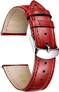 BINLUN Correa de Reloj de Cuero con Patrón de Cocodrilo Genuino para Hombres Mujeres 10 Colores (12 mm, 14 mm, 16 mm, 17 m...