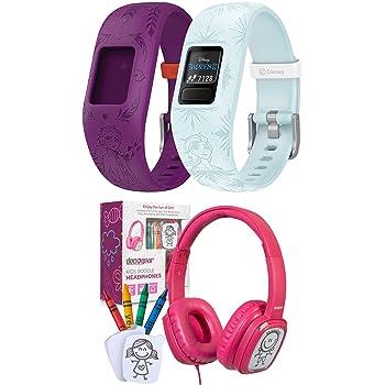 Garmin 010-01909-38 Vivofit Jr 2, Kids Fitness/Activity Tracker, Disney Frozen 2, Elsa, Light Blue Bundle with Deco Gear Kids' Over-Ear Pink Customizable Doodle Headphones w/Safe Ears Volume Limiter