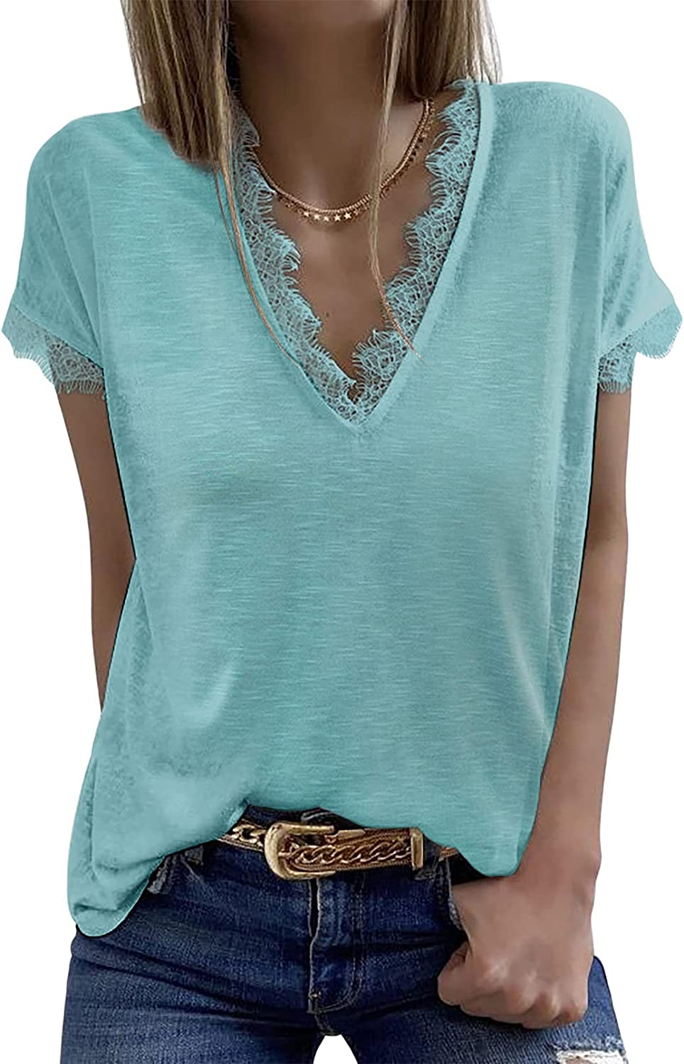 BLENCOT Womens Casual service shipfree V Neck Lace Shi Sleeve Summer T Short Tops