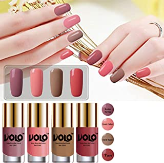 Volo HD Colors High-Shine Long Lasting Non Toxic Professional Nail Polish Set of 4 (Nudes Spring, Candy Cotton, Dark Nude ...