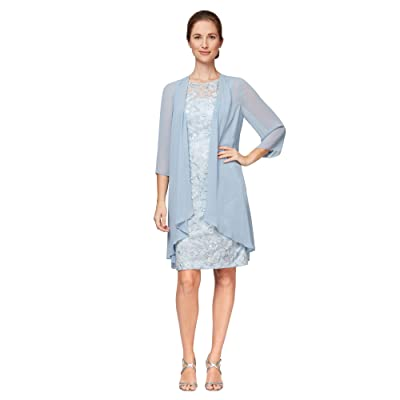 Alex Evenings Short Embroidered Dress with Elongated Illusion Jacket Women