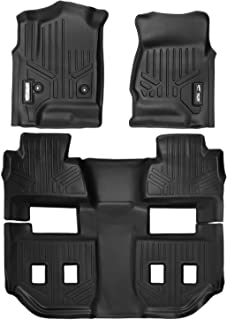 MAXFLOORMAT SMARTCOVERAGE Premium Floor Mats 3 Row Set Black for 2015-2018 Chevrolet Suburban/GMC Yukon XL (with 2nd Row Bucket Seats)