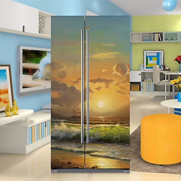 Yazi Side By Side Refrigerator Full Door Cover Decal Vinyl Removable Sticker Kitchen Art D Cor Sunset And Waves 20x71 Inches By 2 Pieces