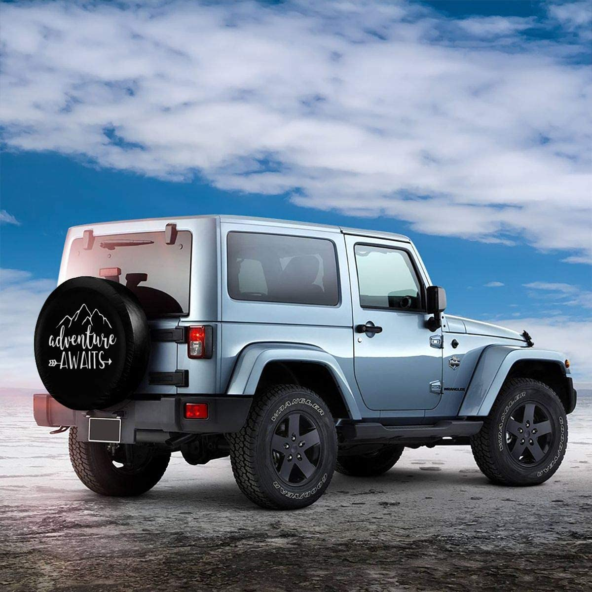 Rv SUV and Many Vehicle 14 15 16 17 MSGUIDE Spare Tire Covers Adventure Awaits Waterproof Dust-Proof Sun Protectors Universal Wheel Cover Fit for Jeep,Trailer