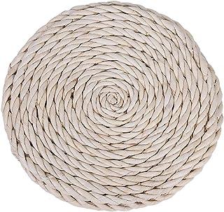 iFCOW Tatami - Cojín redondo para el suelo, tejido a mano, pajita, tejido