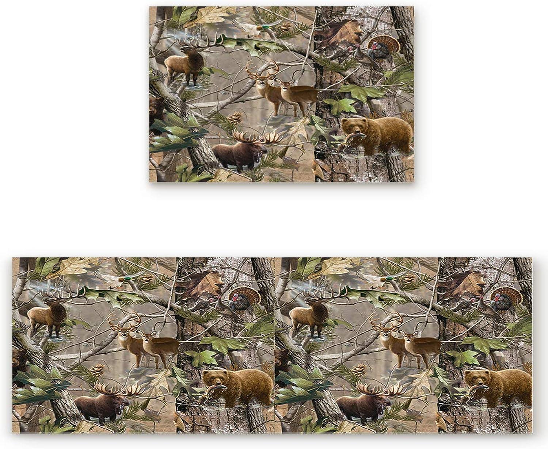 KAROLA 2 Piece Kitchen Mat Non-Slip Doormat Bathroom Runner Rug Set - Forest Deer Bear Bird 19.7 x31.5 +19.7 x63