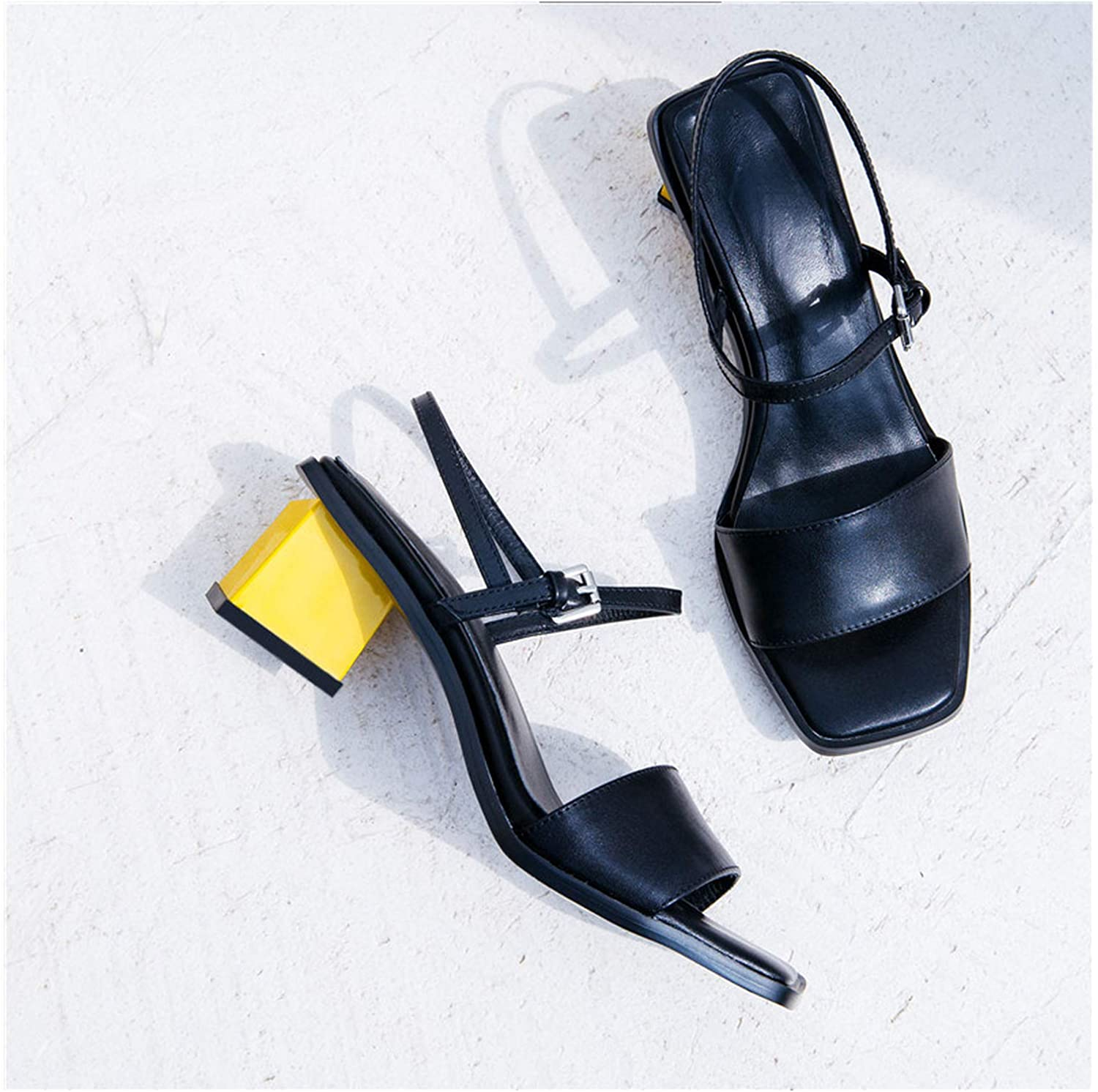 Longbao 2019 Fashion High Heel Summer Genuine Leather shoes Woman Office shoes