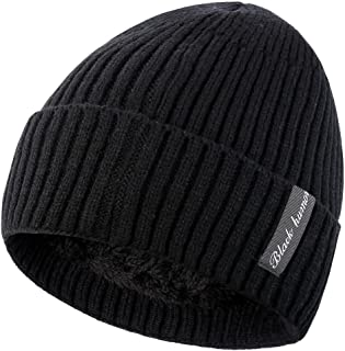 Novawo Winter Fluff Lined Beanie Hat Knit Skull Cap
