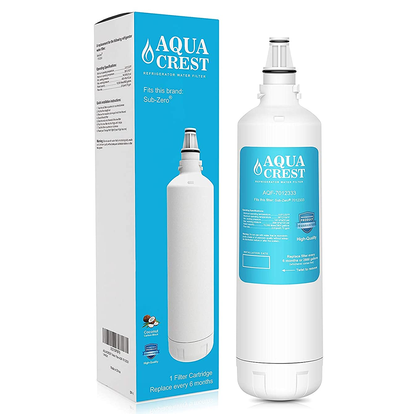 AQUACREST 7012333 Refrigerator Ice Maker Water Filter, Compatible with Sub-Zero 7012333 UC-15, Manitowoc K00374
