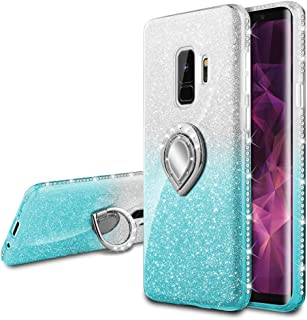 VEGO Case Compatible for Galaxy S9 Glitter Gradient Cute Case Women Shiny Bling Diamond Rhinestone Sparkly Bumper Ring Kickstand Protective Phone Case (Silver Teal)