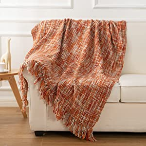 Battilo Rustic Style Acrylic Throw Blanket Measuring, Orange