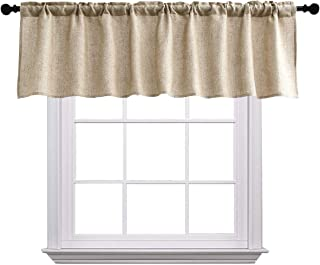 Curtain Valances for Windows Burlap Linen Window Curtains for Kitchen Living Dining Room 58 x 15 inches Rod Pocket 1 Valance Coffee