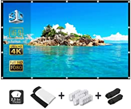 Alopex 120 Inch Projector Screen,16:9 HD 4K Video Movie Screen Grommets No Crease Portable for Indoor Outdoor Home Theater, Support Double Sided Projection. (120 Inch)